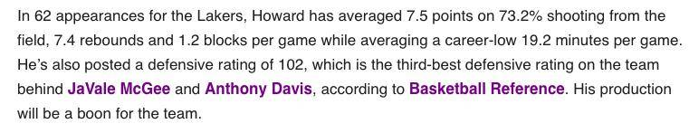 魔獸決定復賽有多重要?美媒評Howard回歸列數據證價值:防守效率全隊第三,一作用無價!-籃球圈