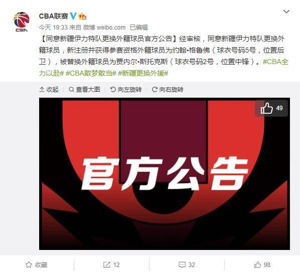 新疆男篮正式更换外援 明日战山西小外援或迎首秀