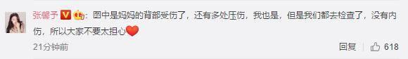极速飞速直播:张馨予后来在评论区向粉丝报告说,她和母亲有几处挤压伤,但没有内伤 何捷张馨予第一次参加节目