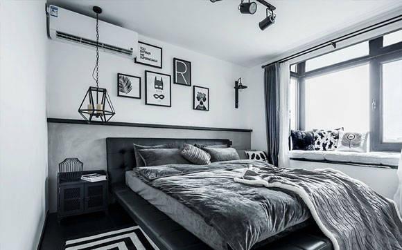 黑白色单身公寓装修,现代风格融入工业设计元素,时尚又高级!