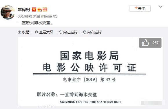 贾樟柯导演《一直游到海水变蓝》获电影公映许可证