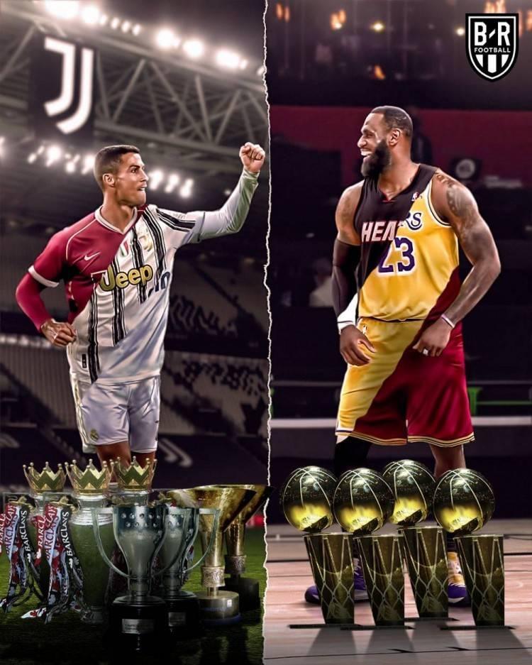 美媒晒图提问,同样是在3支不同球队夺冠,C罗与詹姆斯谁更巨大?