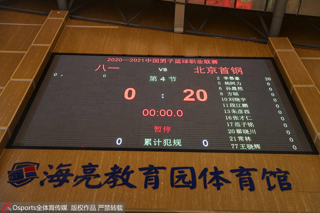 恒达官网八一男篮开赛15分钟仍未到场 被判0-20负于首钢