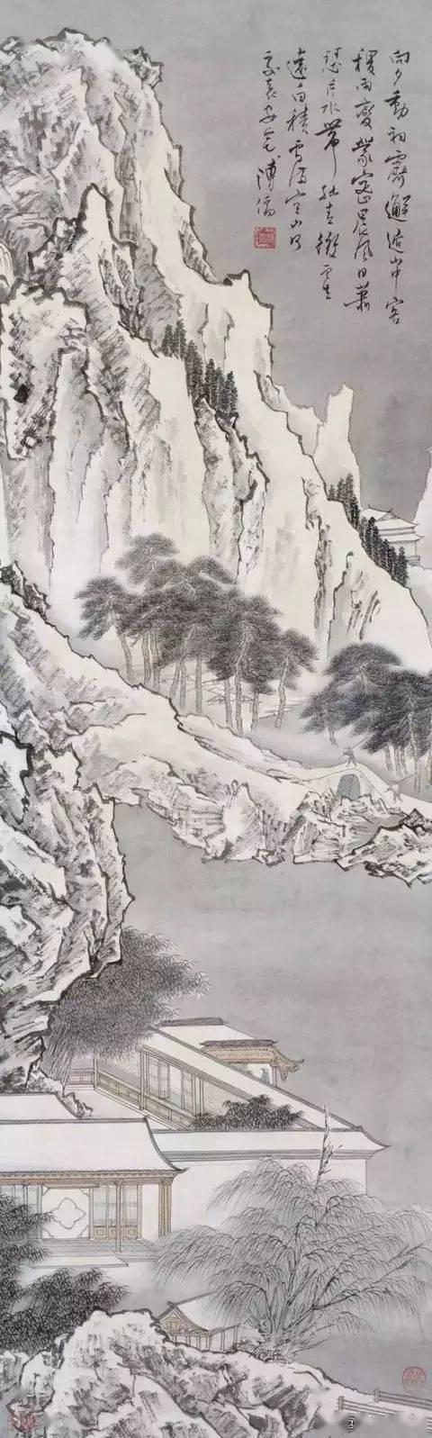 溥儒雪笔下的雪景山水,大爱