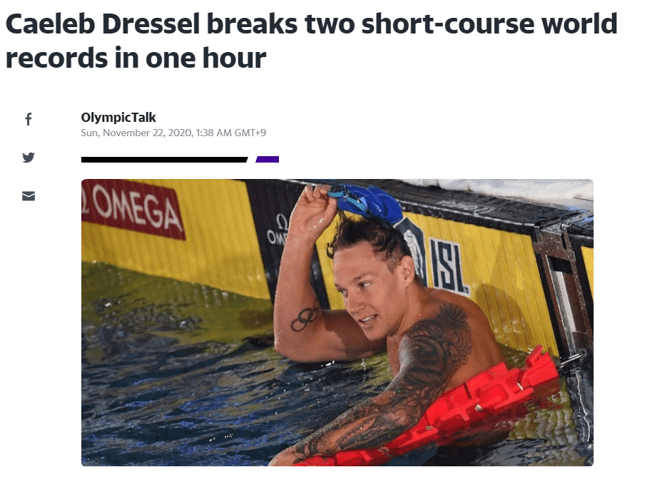 菲鱼接班人1小时2破世界纪录 有望东京奥运冲击7金
