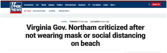 监督防疫措施执行却没戴口罩,美州长解释:没