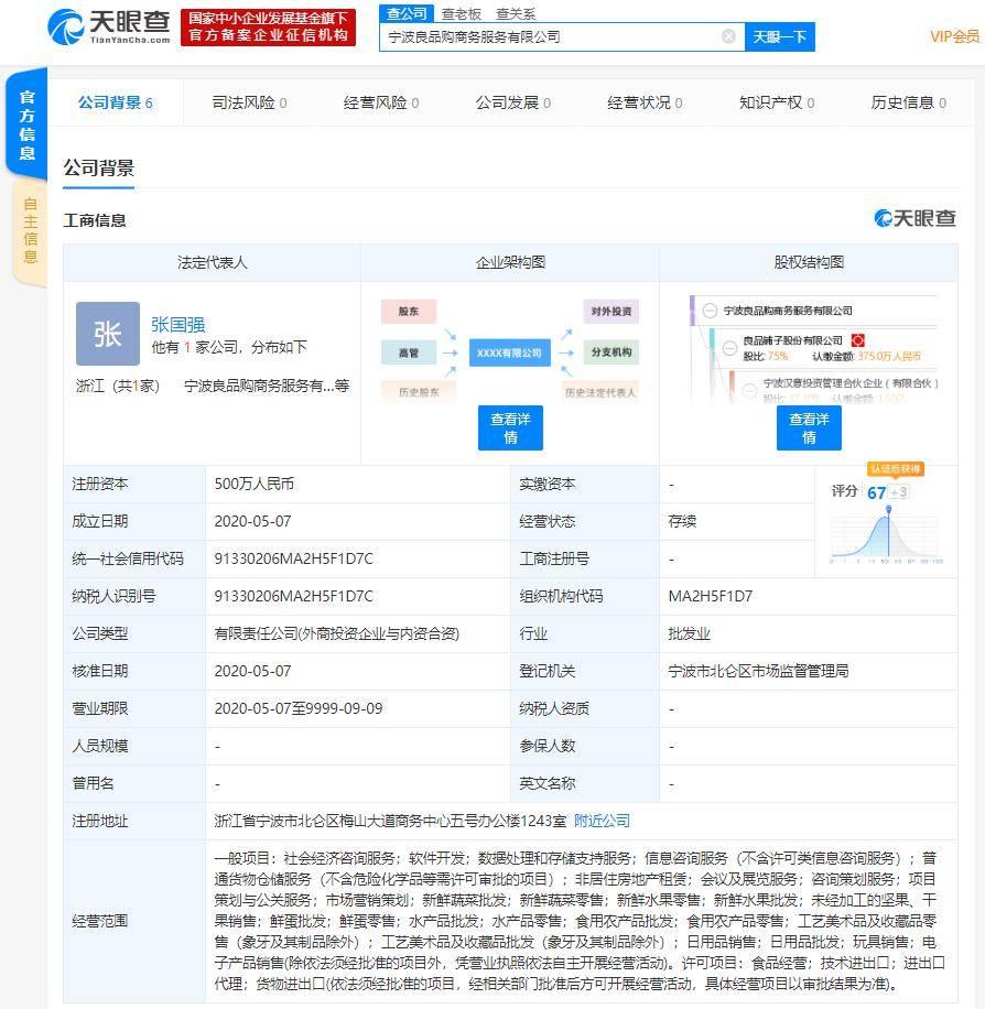 良品铺子股份有限公司在宁波成立商务服务公司,退出武汉一食品公司大股东