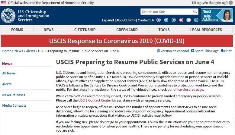 美国移民局:部门办事处将于6月4日重新