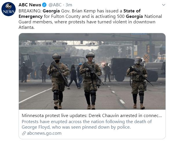 快讯!美国佐治亚州州长宣布紧急状态,出动500国民警卫队-WordPress极简博客