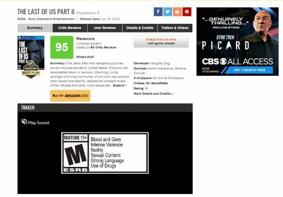 《最后生还者2》媒体评分解禁M站均分95!一片好评