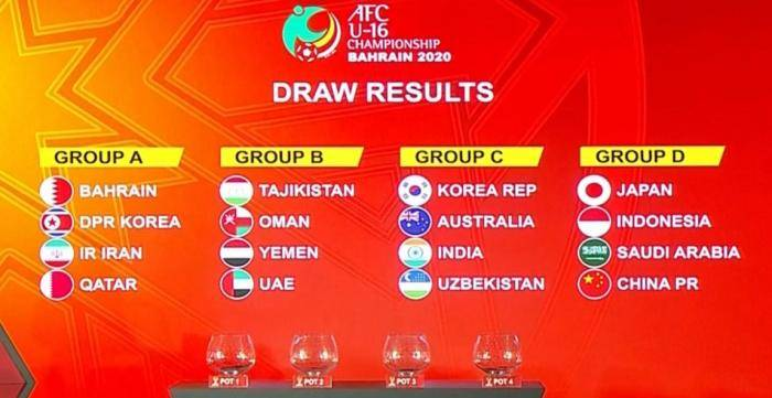 U16亚少赛分组出炉 中国与日本、沙特、印尼同组