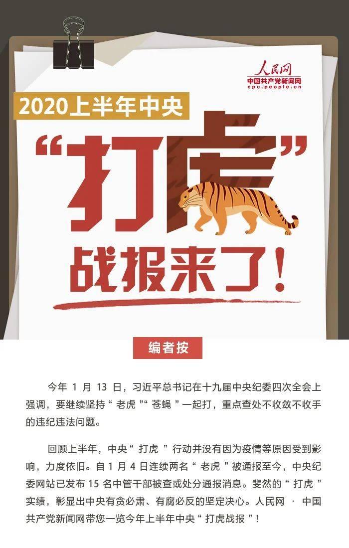 """2020上半年中央""""打虎战报"""":15名""""老虎""""被通报"""