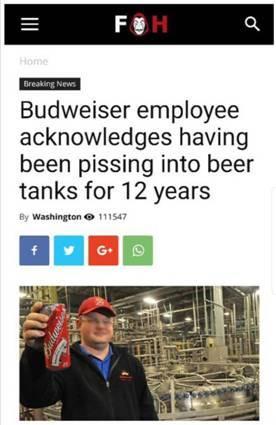 """百威员工在啤酒中""""方便""""12年?实为整蛊网站恶搞假新闻!"""