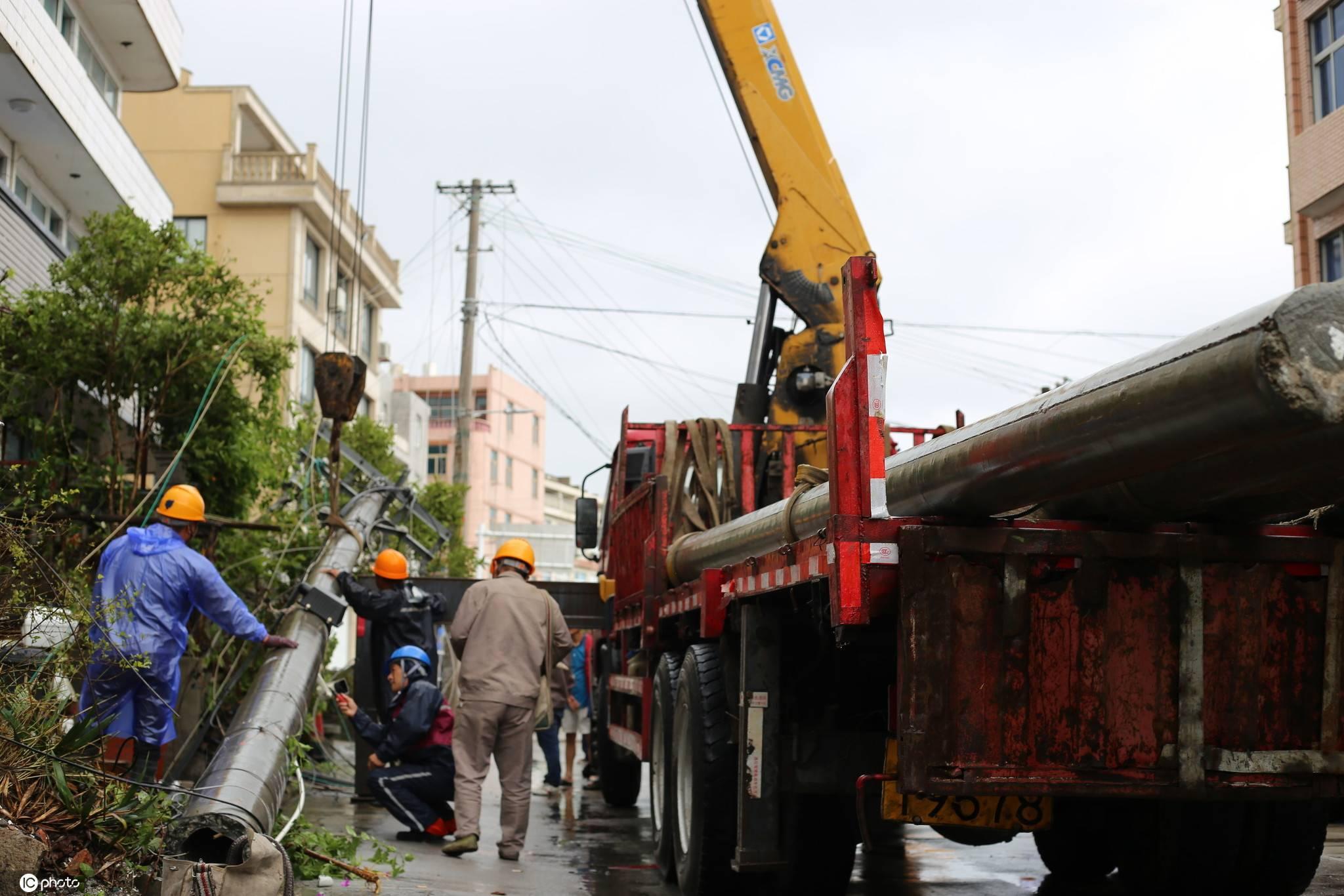 """台风""""黑格比""""登陆浙江温岭700多户村民受停电影响"""