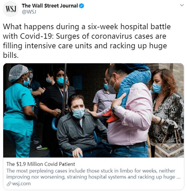 44天,1881500美元!这是一位美国48岁男子治疗新冠肺炎的账单