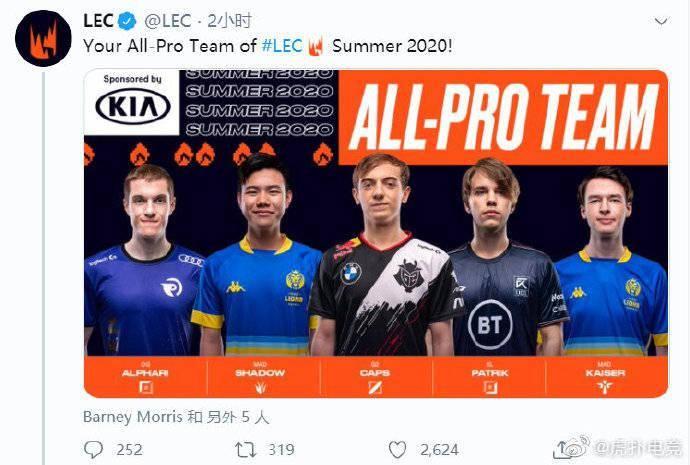 英雄联盟欧洲联赛LEC官方公布了2020夏季赛的最佳阵容