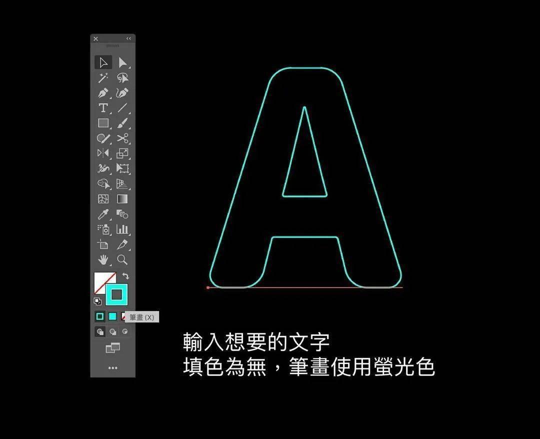 输入文字,填色设无、笔画设为萤光色;使用物件→展开笔画;使用剪刀工具制作灯管的缺口;打开「笔画」视窗,加粗宽度,使用圆端点、圆角;在原地复制一个物件,使用
