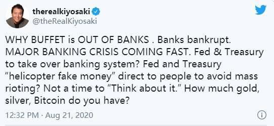 """《富爸爸,穷爸爸》作者:""""重大银行危机即将来临"""" 买黄金、比特币"""