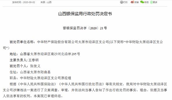 中华财险一分支机构被罚40万:向投保人进行不实宣传