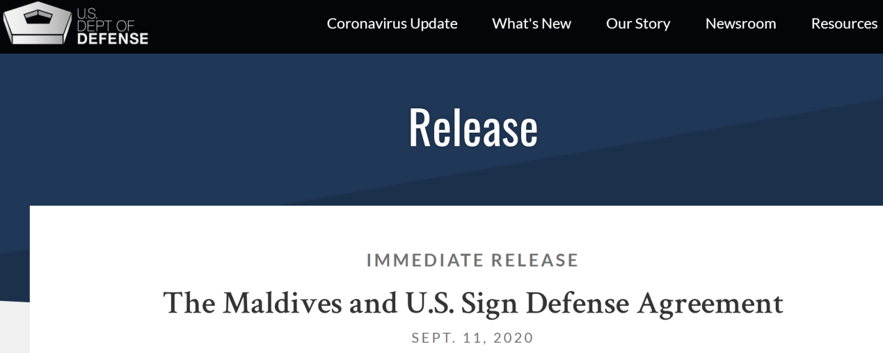 美国和马尔代夫签署防务协议,印媒又扯