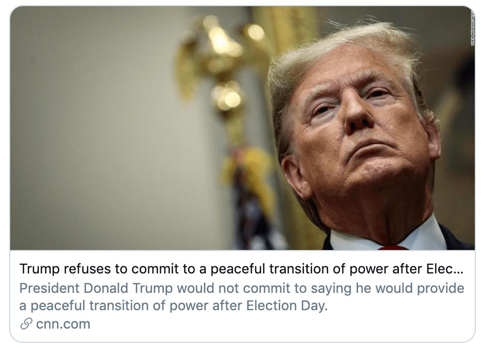 特朗普拒绝承诺和平交接权力,现总统如败选又拒不承认,咋办?