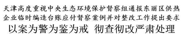 天津:对中央生态环境保护督察组通报的案例,彻查彻改严肃处理