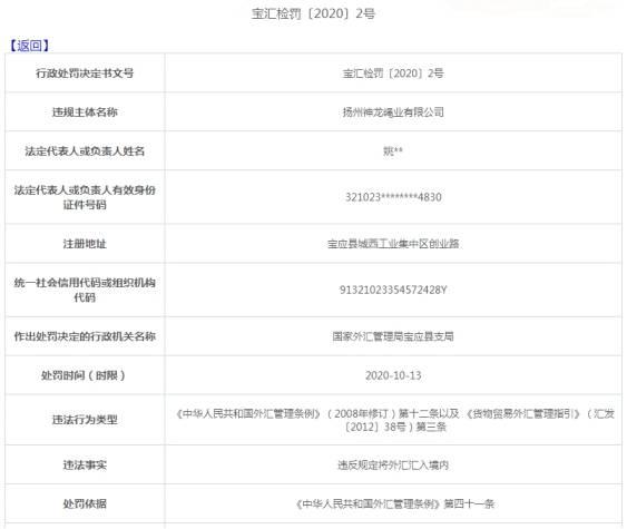 扬州神龙绳业违法遭罚27万 违反规定将外汇汇