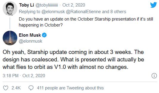 """埃隆·马斯克表示其""""星际飞船""""研发项目的更新将在3周内到来"""