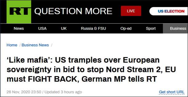 """美国阻挠""""北溪-2""""项目,德国议员:他们的行为就像黑手党"""