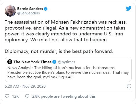 桑德斯谴责伊朗科学家被暗杀:破坏美国新政府与伊方对话可能