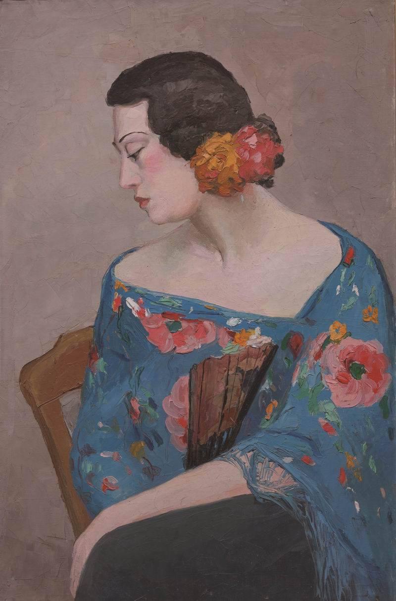 近百件潘玉良画作成都将展,包括《戴花执扇女》《自画像》