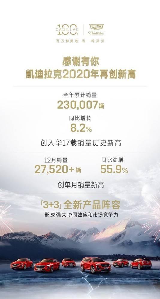 凯迪拉克宣布其2020年的年销量为230,007辆