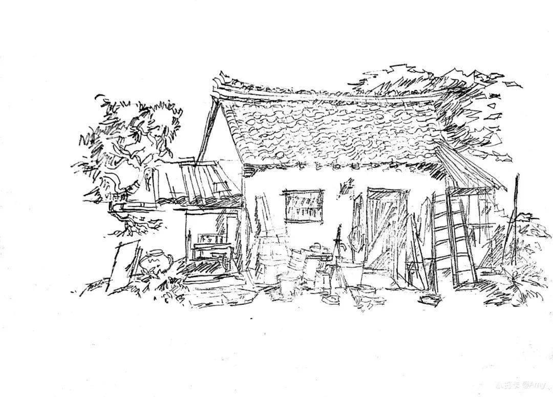 中式小庭院手绘图片素材_红动手机版