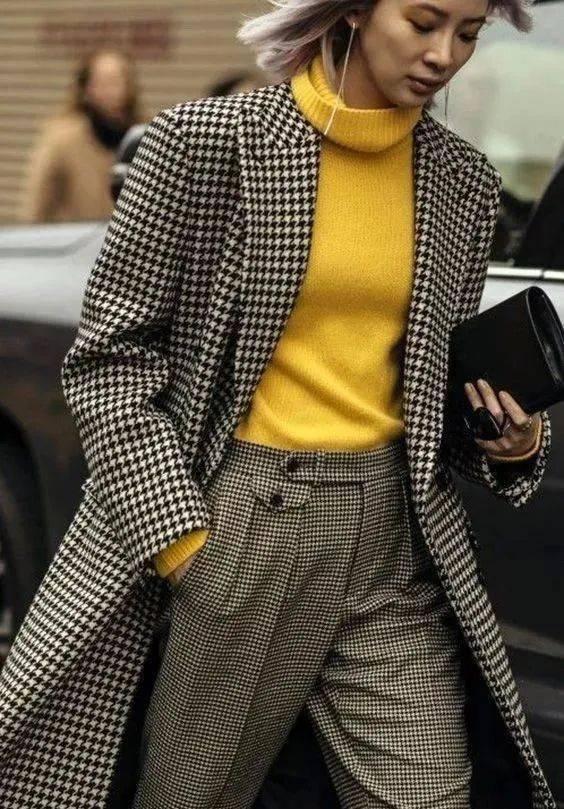 大衣+小高领,太显气质了!