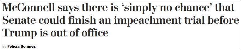 """特朗普遭美国众议院二度弹劾后,麦康奈尔发表声明""""泼冷水"""""""