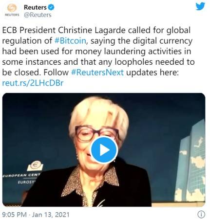 """比特币无阻反弹!欧洲央行行长:促进洗钱犯罪活动 投机加密货币推动""""有趣的生意"""""""