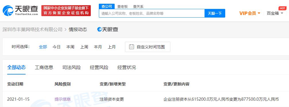 丰巢关联公司注册资本增至87.75亿