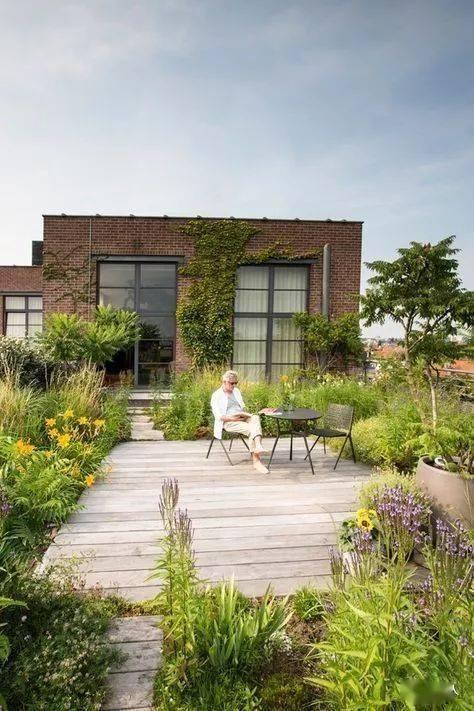 屋顶花园效果图_屋顶休闲花园_屋顶露台花园图片