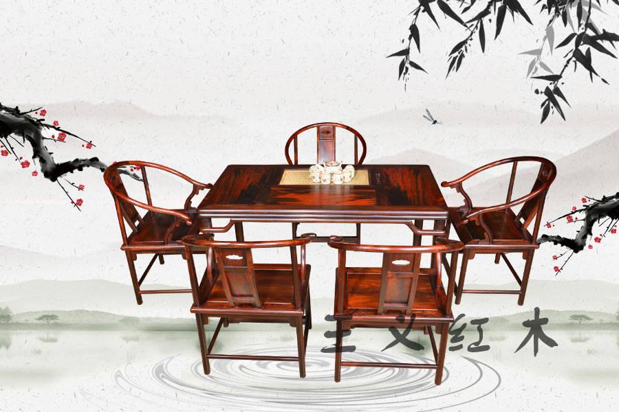 明式体闲茶桌,济宁王义红木家具