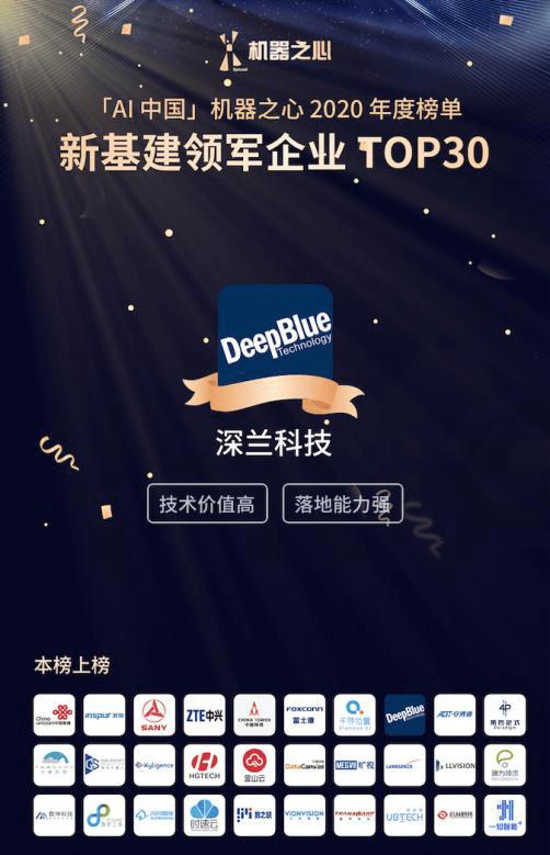 機器之心AI年度獎項出爐,深蘭科技榮膺AI中國·新基建領軍企業TOP30