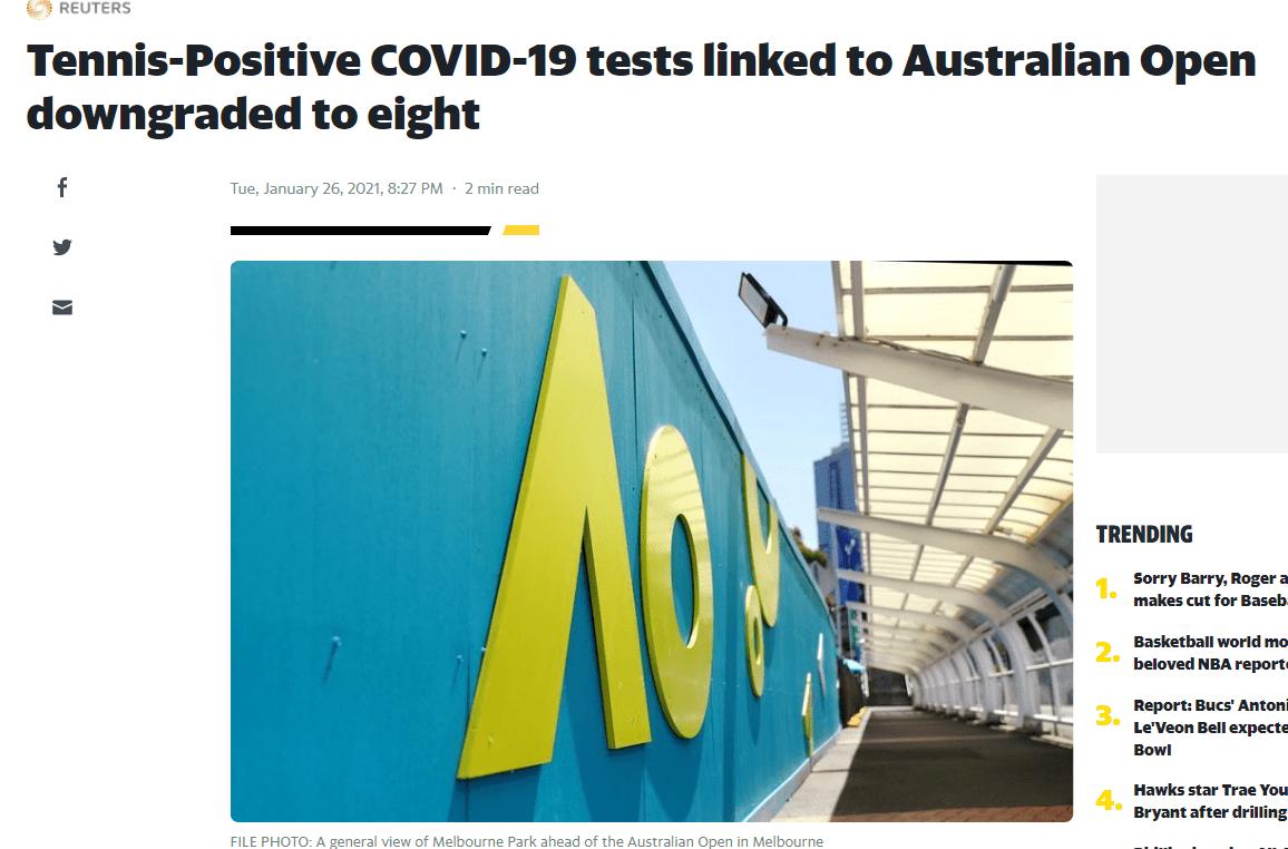 一教练被确认是此前感染 澳网宣布目前感染人数8人
