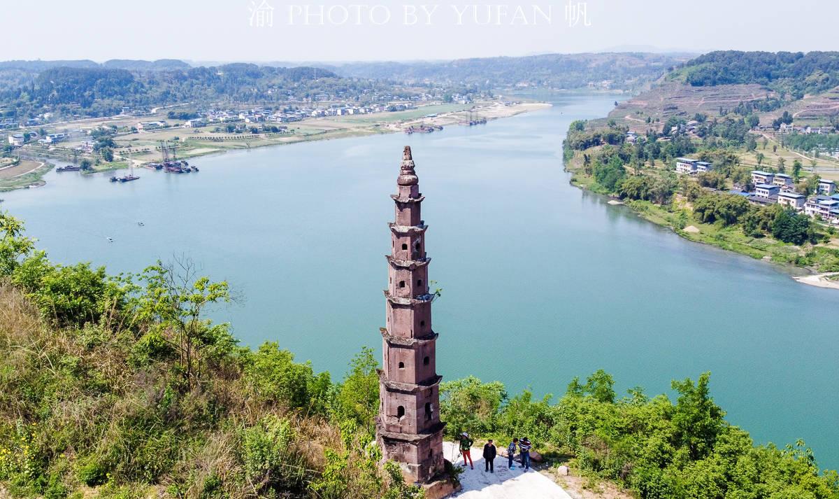 潼南文物地图:别口白塔,一座矗立在涪江边上400多年不倒的古塔