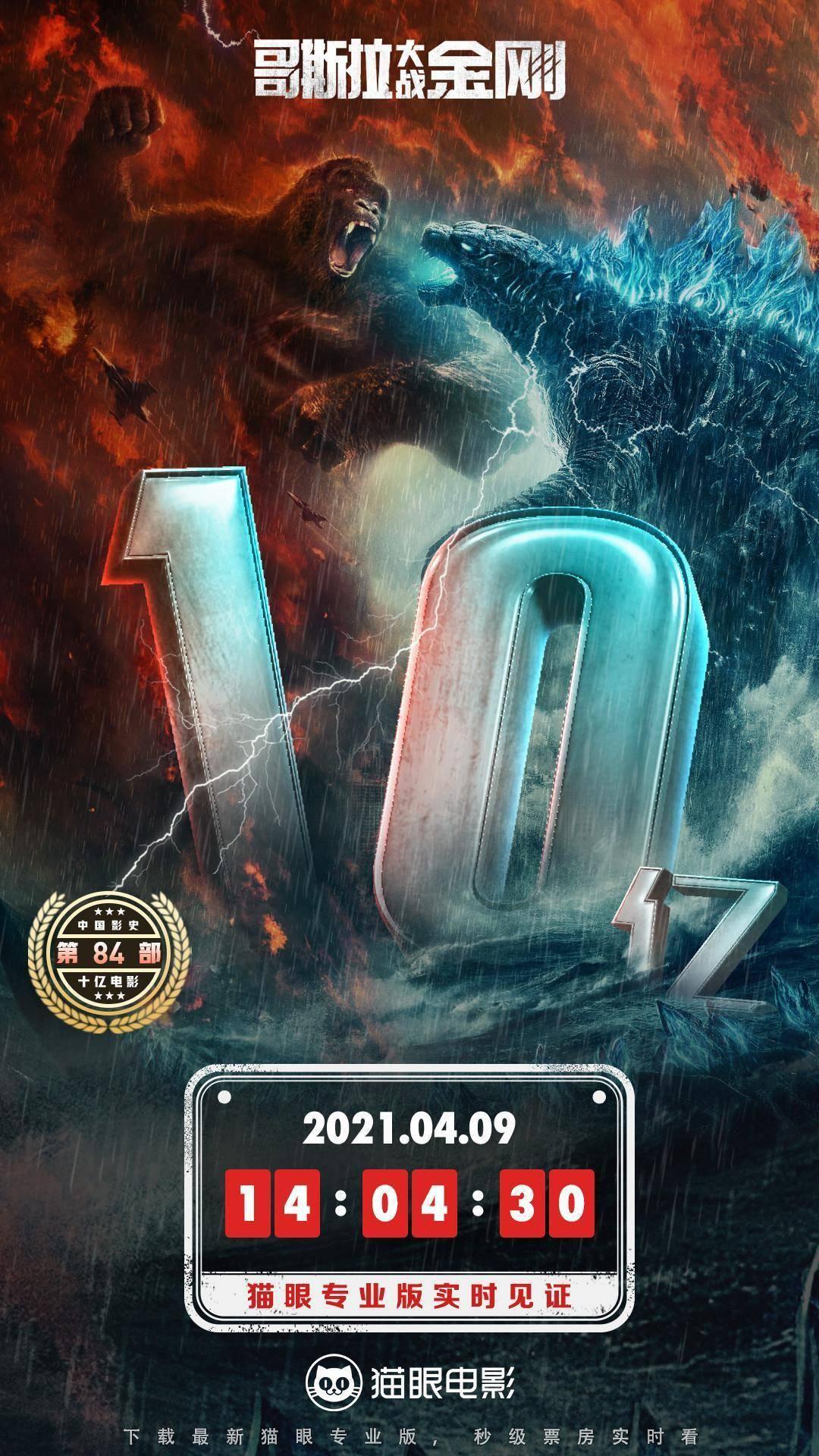 [电影资讯]《哥斯拉大战金刚》票房破10亿 成中国内地影史第84部破10亿电影