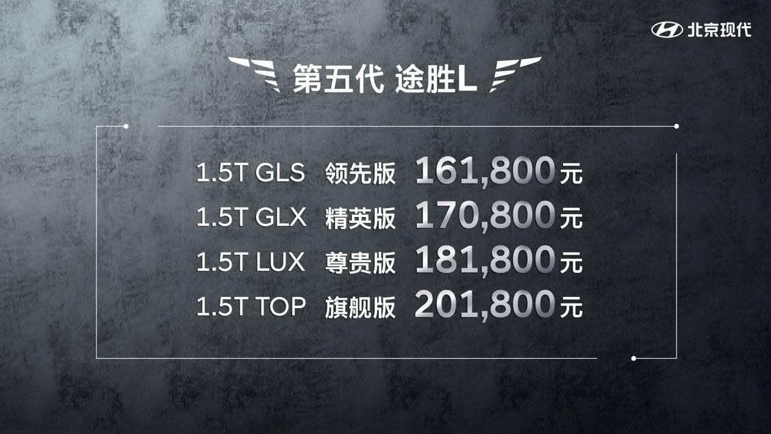 北京现代第五代途胜L上市,售价16.18万-20.18万