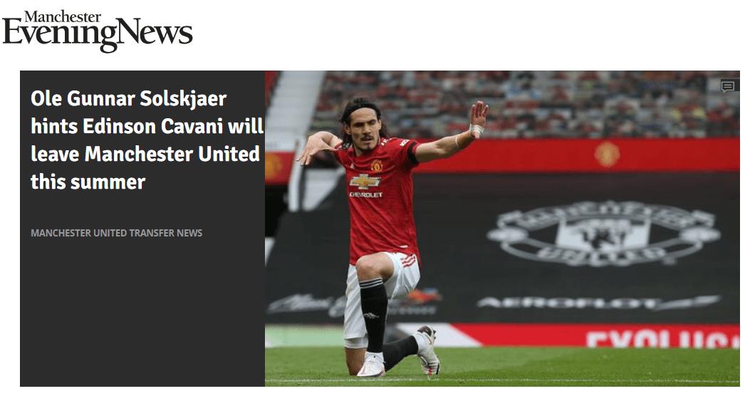 原创             索帅暗示卡瓦尼将离开曼联!希望欧联杯夺冠改变结局,说服他留下