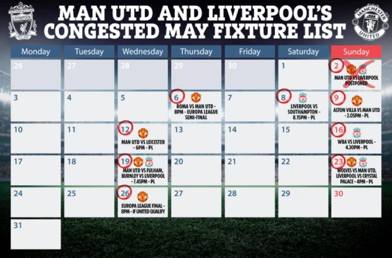 原创             曼联利物浦重赛仅有一个日期可选!那天若不行,英超恐需延长赛季