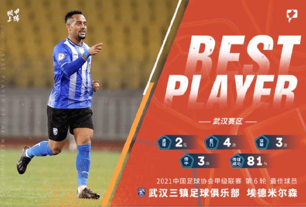 中甲第6轮最佳球员:武汉三镇埃德米尔森!射手榜、助攻榜前三甲