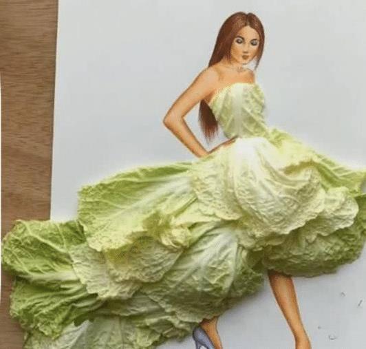 最近流行「蔬菜」設計禮服?生菜挺美,白菜沒差,看到最後:厲害