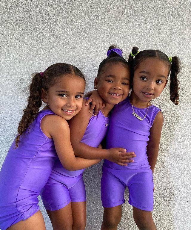 卡戴珊家仨寶同框,芝加哥太像媽,科勒女兒最高繼承NBA爸爸