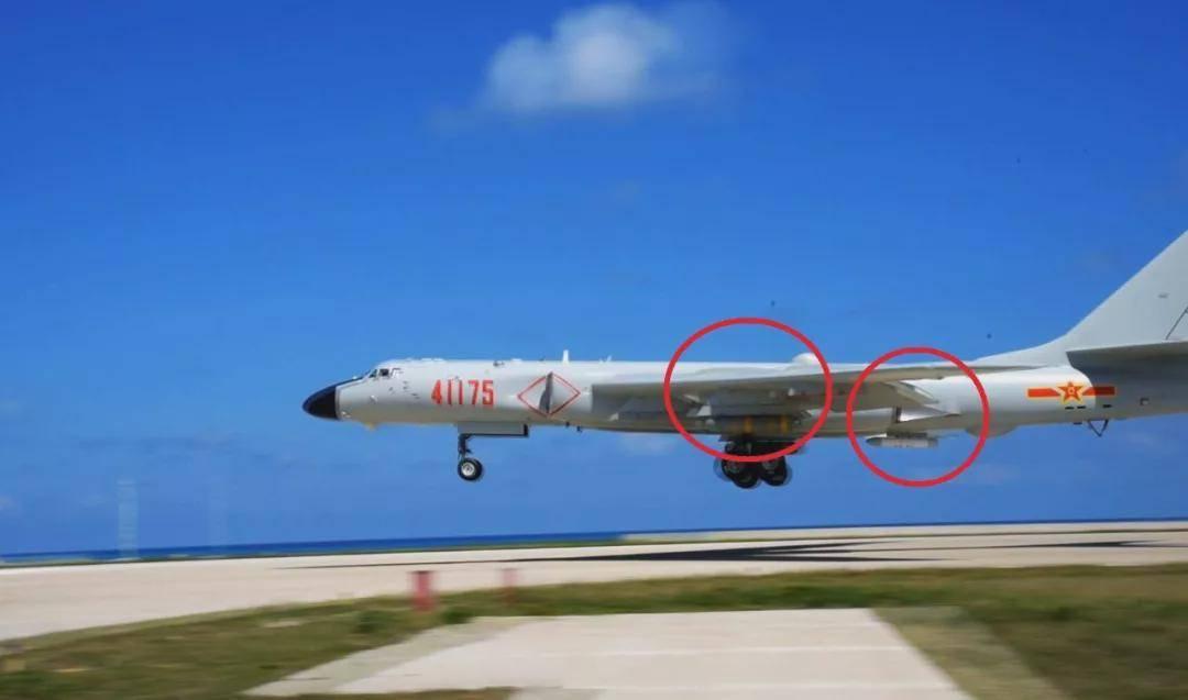 轰-6k轰炸机飞永兴岛,只带半截导弹?这款神秘吊舱说明一切!